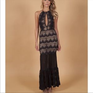 NWT Nightcap Belle Nuit Maxi Gown Lace Black Gown